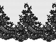 Bezszwowa wektorowa czerni koronka Obraz Stock