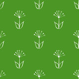 Bezszwowa zieleń i biel wręczamy patroszonego, doodle, kwiecisty wektoru wzór dla tła, tło Skandynaw, etniczny styl Fotografia Royalty Free