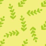 Bezszwowa zielona ręka rysująca, doodle, kwiecisty wektoru wzór dla tła, tło Skandynaw, etniczny styl dla Obraz Stock