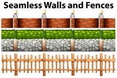 Bezszwowe ściany i ogrodzenia w wiele projektach ilustracja wektor