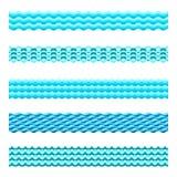 Bezszwowe błękitne wody falowego wektoru płytki ustawiać ilustracja wektor