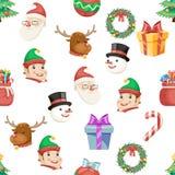 Bezszwowe Bożenarodzeniowe ikony Ustawiająca nowy rok zimy wakacje Xmas kreskówki projekta tła wektoru Przejrzysta ilustracja royalty ilustracja