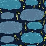 Bezszwowe chmury i błyskawicy ilustracji
