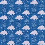 Bezszwowe chmury i deszczu wzór ilustracja wektor