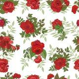 bezszwowe deseniowe czerwone róże royalty ilustracja