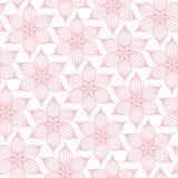 Bezszwowe Deseniowe Duże kwiat linii menchie I biel ilustracji