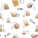 Bezszwowe deseniowe herbaciane torby i filiżanki zdjęcie royalty free
