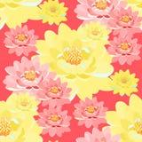 Bezszwowe deseniowe lotosowego kwiatu menchie, kolor żółty, zakończenie up na menchiach Obraz Stock