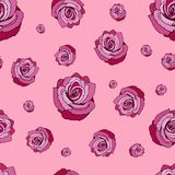 bezszwowe deseniowe róże Bezszwowy wzór z czerwonymi różami na różowym tle Czerwone róże na różowym tle ilustracja wektor