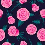 bezszwowe deseniowe różowe róże Kwiaty z liśćmi na ciemnym tle ilustracji