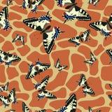 Bezszwowe deseniowe skóry żyrafy i machaon motyle najlepszego ?ci?gania oryginalni druki przygotowywali tekstur? royalty ilustracja