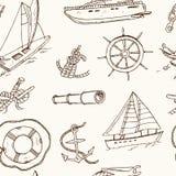 Bezszwowe deseniowe wektorowe jachtingowe doodle ikony objurgate Fotografia Royalty Free