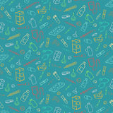 bezszwowe doodle nakreślenia studenta medycyny ikony Obrazy Royalty Free