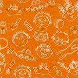 Bezszwowe dzieciak twarze, zabawki i deseniują tło Fotografia Royalty Free