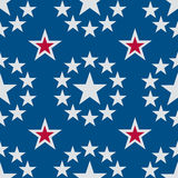 Bezszwowe gwiazdy Czerwony Błękitne i Biały Obraz Stock