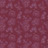 Bezszwowe kwieciste deseniowe malinki, peonia Ręka rysująca ilustracyjna tkanina, zawija Zdjęcia Stock