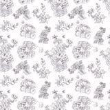 Bezszwowe kwieciste deseniowe malinki, peonia Ręka rysująca ilustracyjna tkanina, zawija Obraz Stock