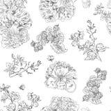 Bezszwowe kwieciste deseniowe malinki, peonia Ręka rysująca ilustracyjna tkanina, zawija Fotografia Royalty Free