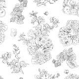Bezszwowe kwieciste deseniowe malinki, peonia Ręka rysująca ilustracyjna tkanina, zawija Ilustracja Wektor
