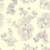 Bezszwowe kwieciste deseniowe malinki, peonia Ręka rysująca ilustracyjna tkanina, zawija Zdjęcie Royalty Free