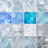 Bezszwowe lodowe śnieżne tekstury ustawiać Abstrakcjonistyczna zima Fotografia Stock