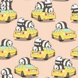 Bezszwowe pandy na żółtym samochodu wzorze ilustracja wektor