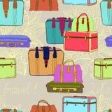 Bezszwowe podróży walizki Obrazy Royalty Free