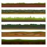 Bezszwowe różne ziemie, ziemie i ziemia, ustawiają dla UI gier Nawierzchniowa zielona trawa również zwrócić corel ilustracji wekt Zdjęcie Stock