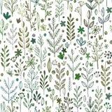 Bezszwowe ręki rysować skaczą wzór z trawą i Obraz Royalty Free