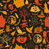 Bezszwowe rysunkowe ikony dla Halloween Zdjęcie Stock