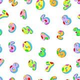 Bezszwowe wzór liczby barwione liczby Zdjęcie Stock