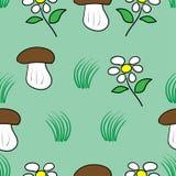 Bezszwowe wzór pieczarki, kwiaty i Ilustracja Wektor