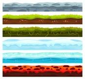 Bezszwowe ziemi warstwy Brud ziemi krajobrazu gemowa wartość, lód z śnieg nakrętkami i lawowa podłoga, Kreskówek nawierzchniowe w ilustracji