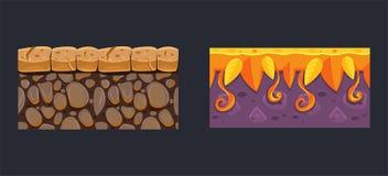Bezszwowe zmielone tekstury, gemowy interfejsu użytkownika element dla wideo gra komputerowa wektoru ilustraci Ilustracji