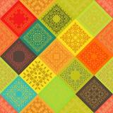 Bezszwowego abstrakcjonistycznego kolorowego rocznika ceramiczne płytki z marokańczyka wzoru ramą modny kwiatu ornament Tło tekst ilustracja wektor