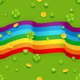 Bezszwowego Deseniowego świętego Patrick dnia Złocistych monet koniczyny zieleni serc tła kartka z pozdrowieniami projekta Płaski Zdjęcie Stock