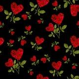 Bezszwowego deseniowego czerwonego serca różani płatki Fotografia Royalty Free