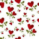 Bezszwowego deseniowego czerwonego serca różani płatki Obraz Stock