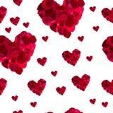 Bezszwowego deseniowego czerwonego serca różani płatki Obrazy Stock
