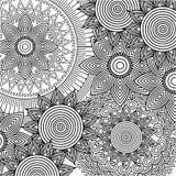 Bezszwowego deseniowego kwiecistego round abstrakcjonistycznego rocznika elementu dekoracyjnego tła dorosła kolorystyka Obrazy Stock