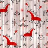 Bezszwowego deseniowego Mezen tradycyjnego obrazu akwareli końska ilustracja Obraz Stock