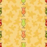 Bezszwowego deseniowego tła alkoholiczni napoje Alkoholu wektor Owoc cocktail Zdjęcia Royalty Free