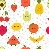 Bezszwowego deseniowego wiyh dancingowe owoc Śliczna ręka rysować kawaii owoc Zdrowa stylowa kolekcja Mieszkanie styl Jarski jedz zdjęcie stock