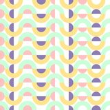 Bezszwowego geometrycznego abstrakta wzoru tła projekta wektorowego kolorowego rocznika retro sztuka z okręgami i round kształtów royalty ilustracja