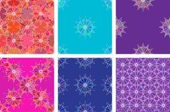 Bezszwowego koloru wzoru tła wektorowy set Obrazy Royalty Free