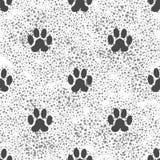 Bezszwowego kota łapy Zwierzęcy wzór Druk łapy tło royalty ilustracja