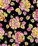 Bezszwowego kwiatu cyfrowy skutek z czarnym tłem ilustracja wektor