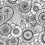 Bezszwowego kwiecistego retro doodle czarny i biały wzór w wektorze Fotografia Royalty Free