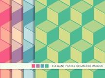 Bezszwowego pastelowego tła ustalona kubiczna kreskowa geometria Fotografia Stock