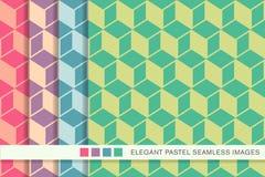 Bezszwowego pastelowego tła ustalona kubiczna kwadratowa geometria Zdjęcia Stock